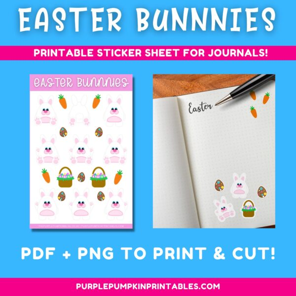 Printable Easter Bunnies Stickers for Journals