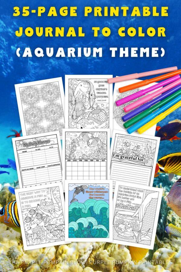 35-Page Printable Journal to Color (Aquarium Theme)