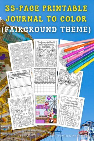 35-Page Printable Journal to Color (Fairground Theme)