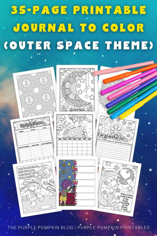 35-Page Printable Journal to Color (Outer Space Theme)