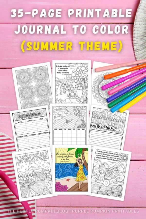 35-Page Printable Journal to Color (Summer Theme)