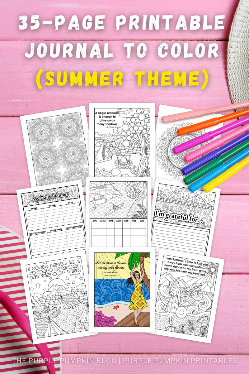 Summer Themed Printable Journal To Color (Printable Planner)