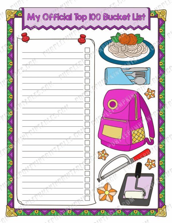 Bucket List Journal Sample Page