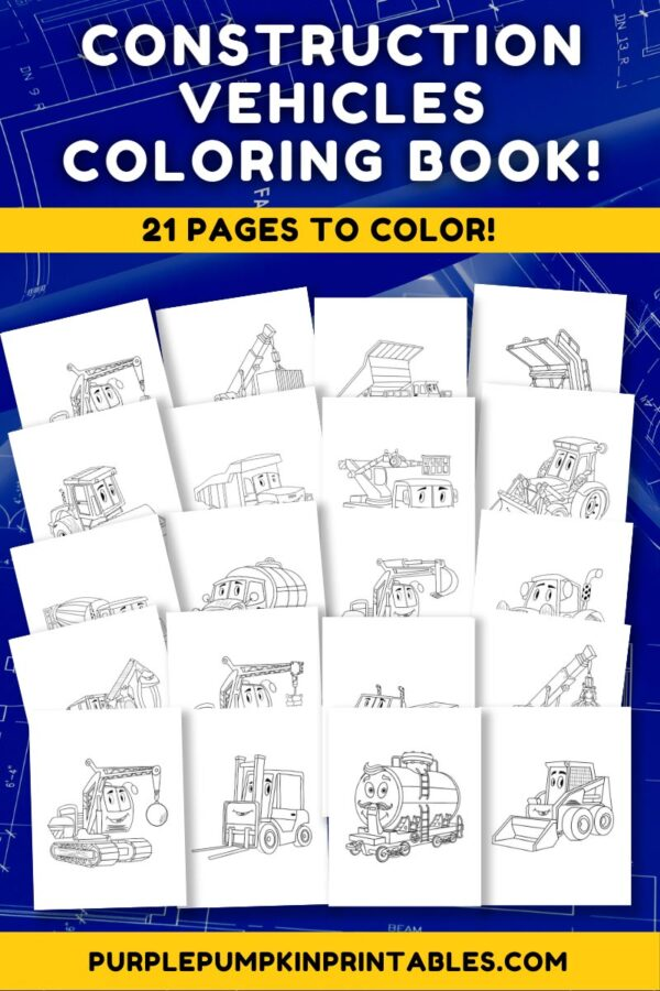 Construction vehicles Coloring Book! 21 Pages to Color!