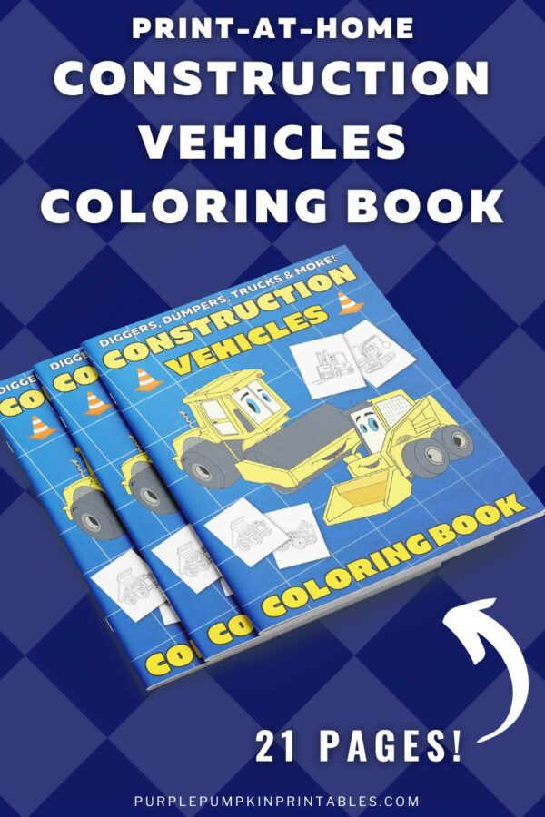 Print-At-Home Construction Vehicles Coloring Book