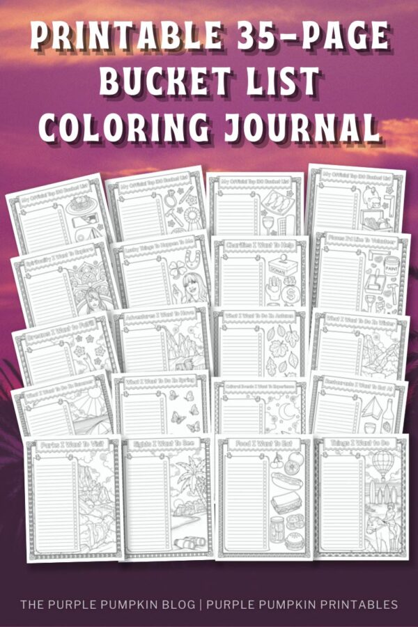Printable 35-Page Bucket List Coloring Journal