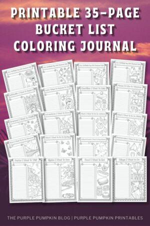 35-Page Printable Bucket List Journal To Color