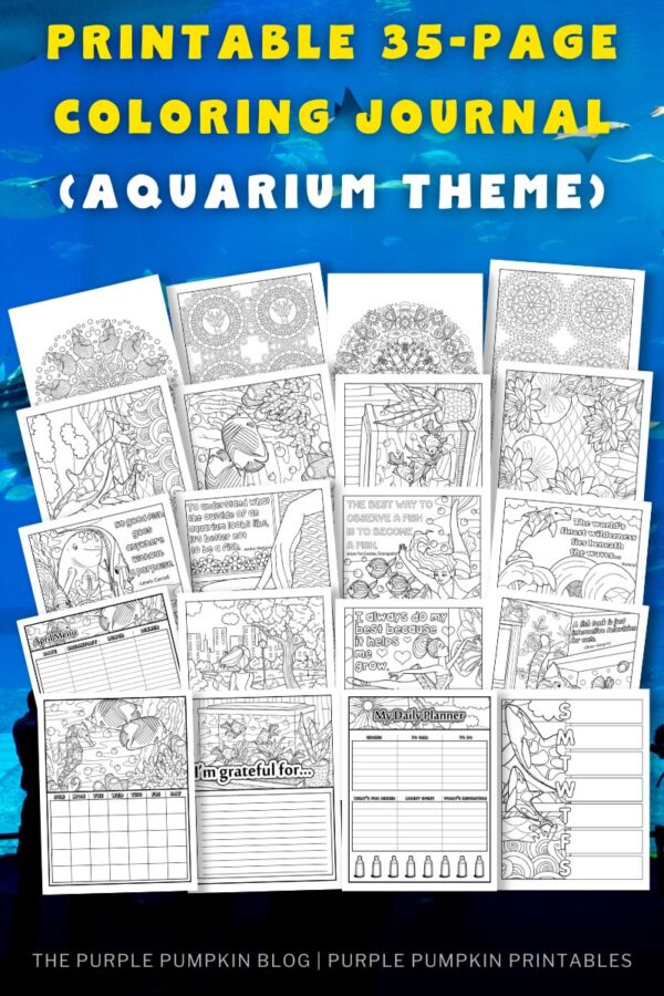 Printable 35-Page Coloring Journal (Aquarium Theme)