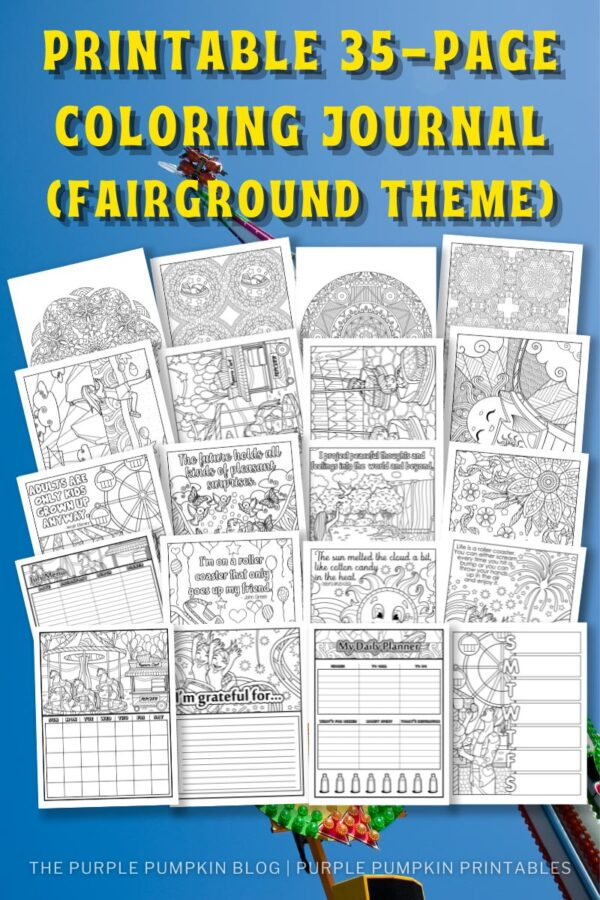Printable 35-Page Coloring Journal - Fairground Themed