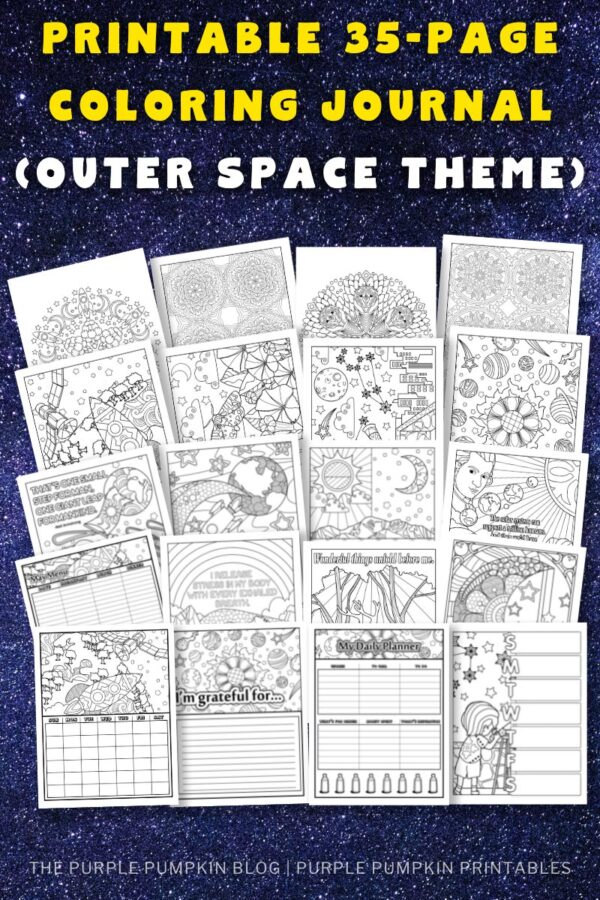Printable 35-Page Coloring Journal (Outer Space Theme)