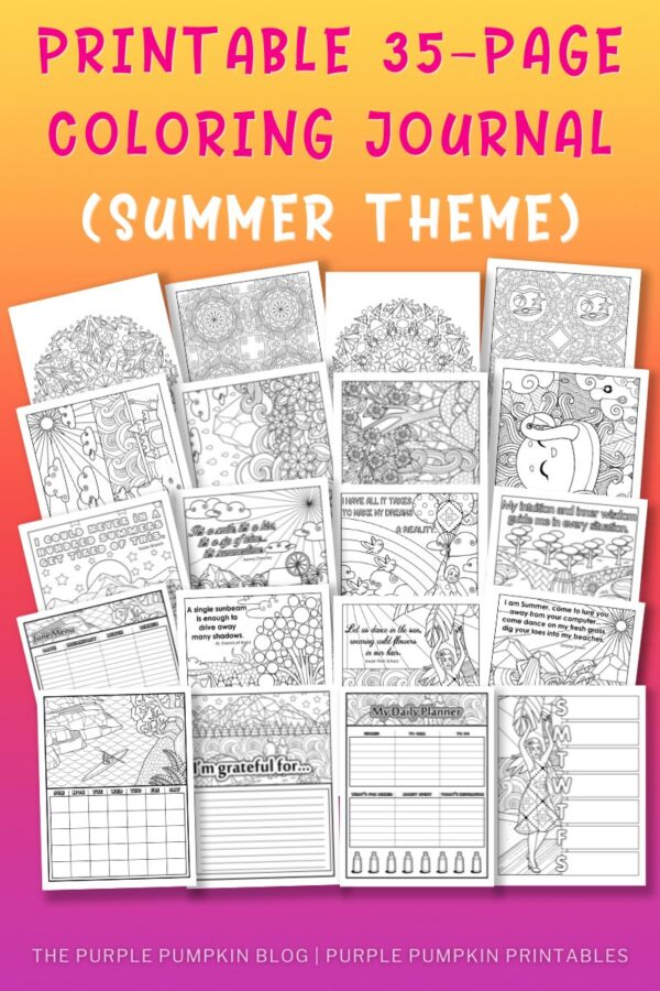 Printable 35-Page Coloring Journal (Summer Theme)
