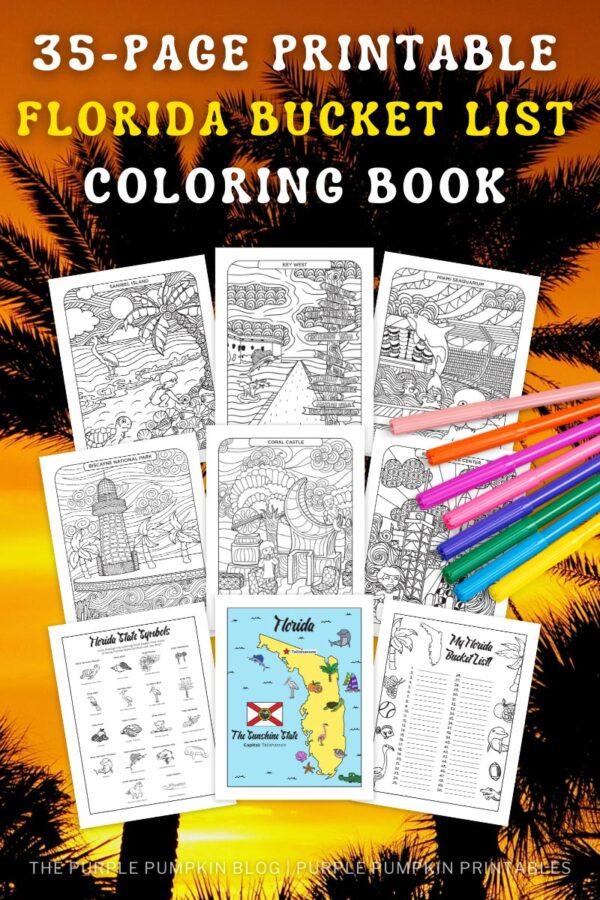 35-Page Printable Florida Bucket List Coloring Book