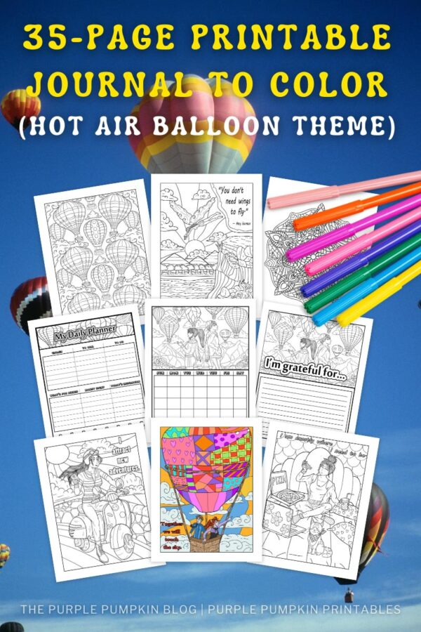 35-Page Printable Journal to Color - Hot Air Balloon Theme