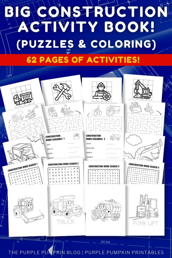 Big Construction Activity Book Puzzles & Coloring To Print at Home