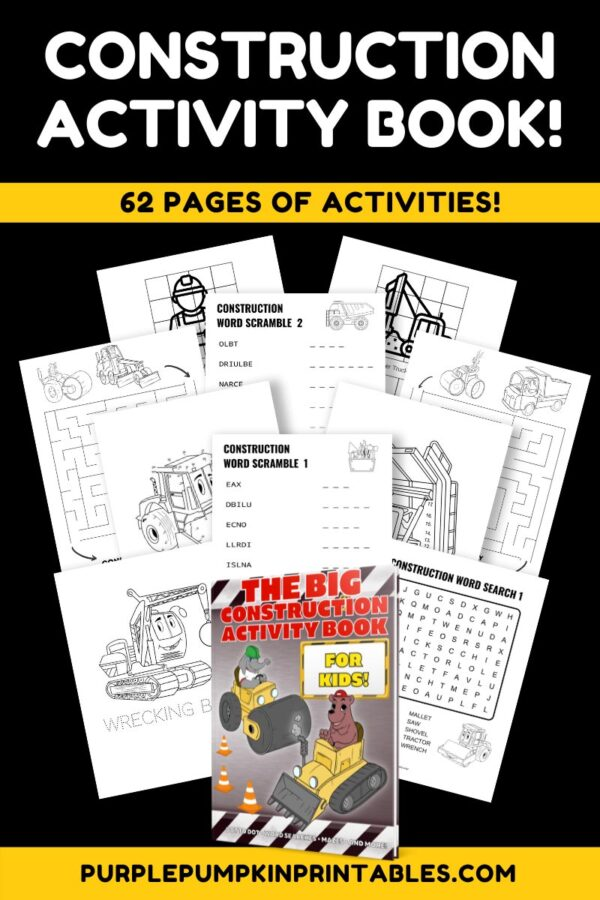 Construction Activity Book 62 Pages of Activities