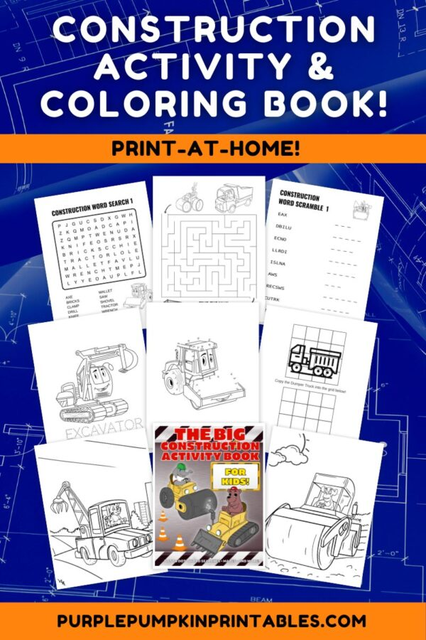 Construction Activity & Coloring Book to Print at Home