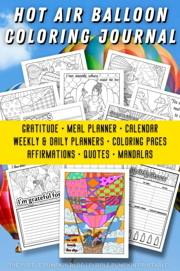 Hot Air Balloon Coloring Journal with Pages including Gratitude, Meal Planner, Calendar and More