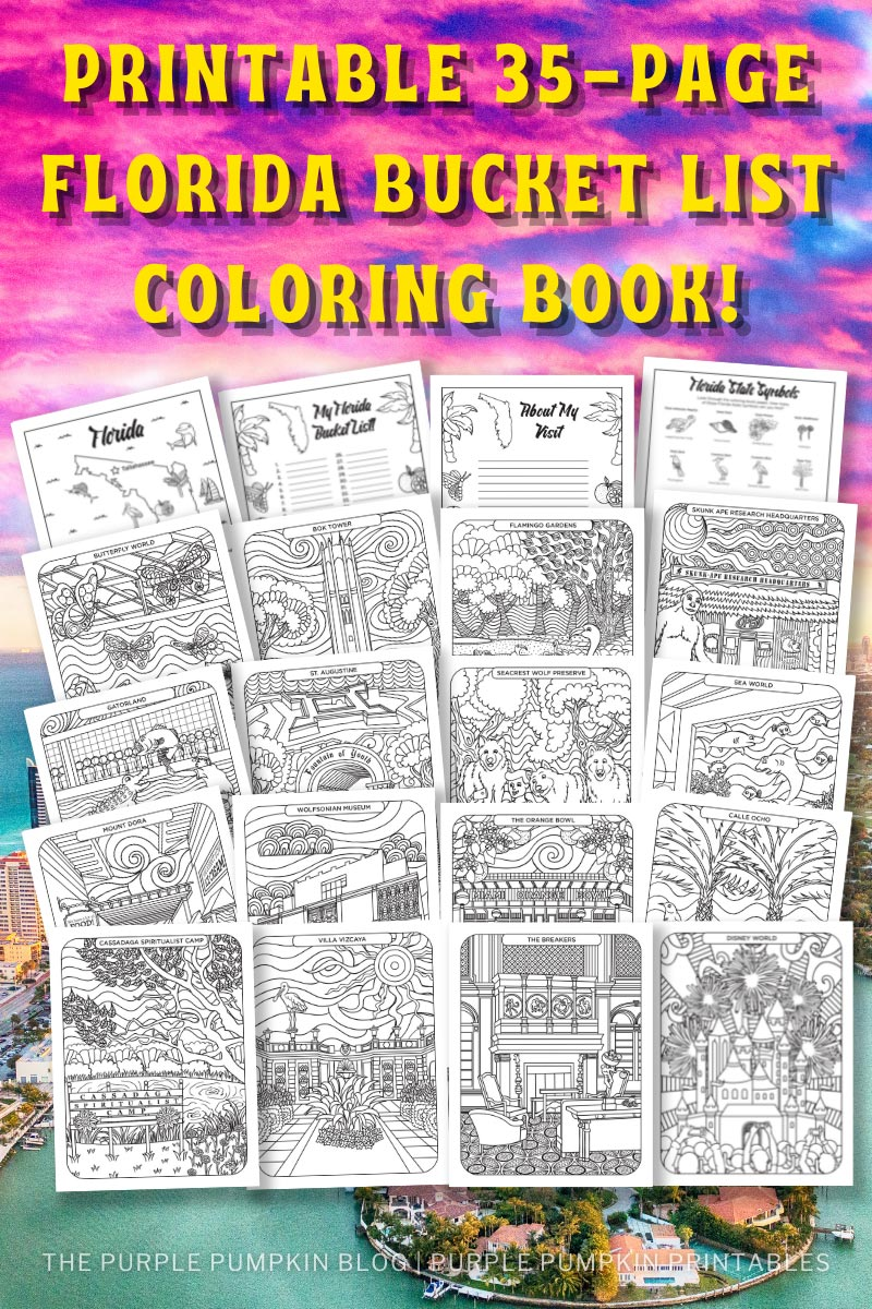 Printable Florida Bucket List Coloring Book (35-Pages to Print at Home!)