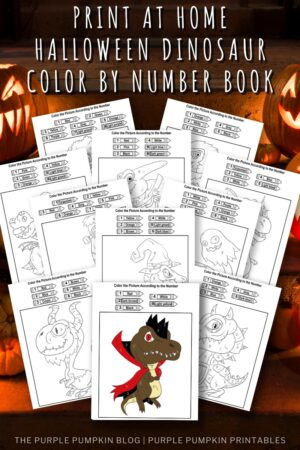 Print at Home Halloween Dinosaur Color By Number Book