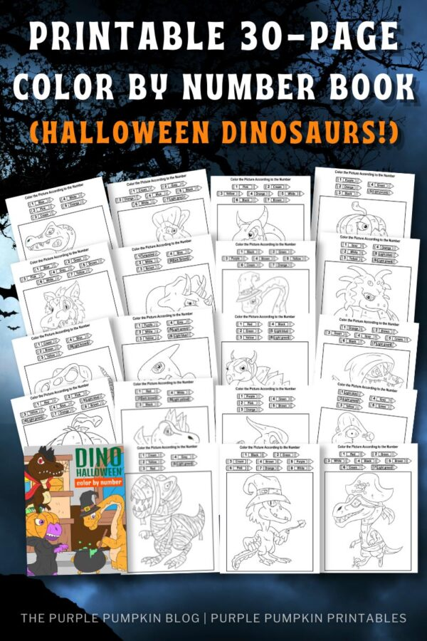 Printable 30-Page Color By Number Book (Halloween Dinosaurs)